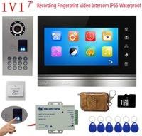 Video Recording Intercom Video Doorbell 7 Color Monitor Intercoms For Private Homes Fingerprint/Rfid/Code Camera+Remote Control