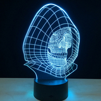 3D Skull With Hat Illusion Lamp Baby Deco Projector Table Lamp Night Lighting 7 Color