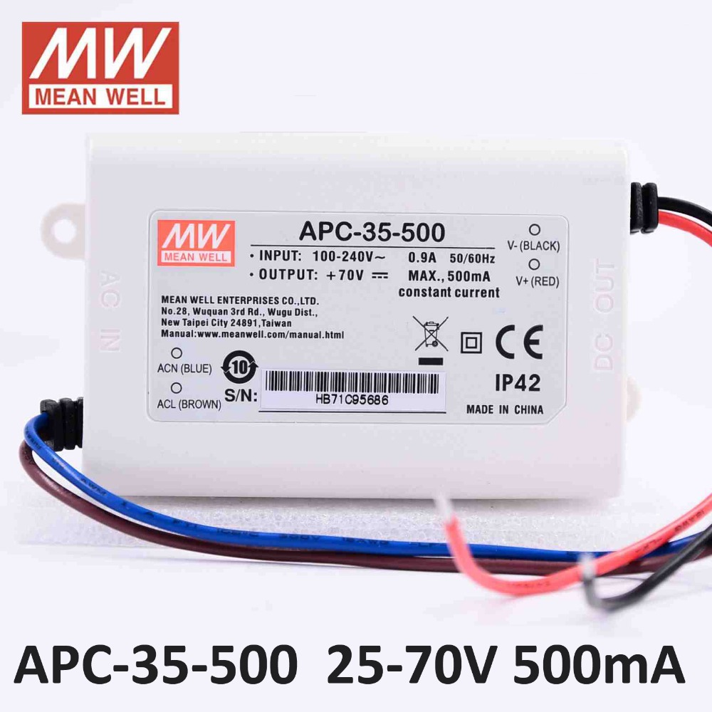 Original Meanwell Led Driver Apc 35 500 Single Output 35w 2570v Wiring Diagram
