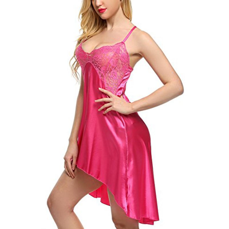 Sexy Women Satin Nightgown Lingeire Nightshirts Lace Chemises Irregular Outfits Sleepwear Nightwear Robe Pijama Night Dress