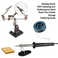 Soldering Starter Tool Kit   30W Iron / Solder / Sponge & Helping Hand|Integrated Circuits|Electronic Components & Supplies -