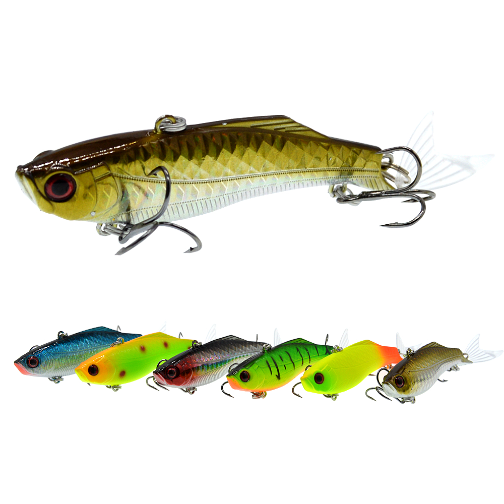 1PCS 8.3cm/23g Winter Sea Hard Fishing Lure VIB Bait 3D eyes With Lead Inside Diving Swivel Jig Wing Wobbler Crankbait-in Fishing Lures from Sports & Entertainment