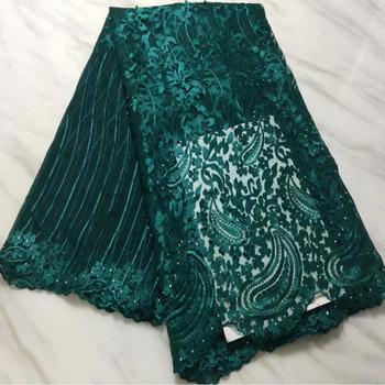 2018 High Quality Bead Stone cord African Net Swiss French Voile Guipure tulle mesh Lace Fabric For dress 5yard/lot LPL31150