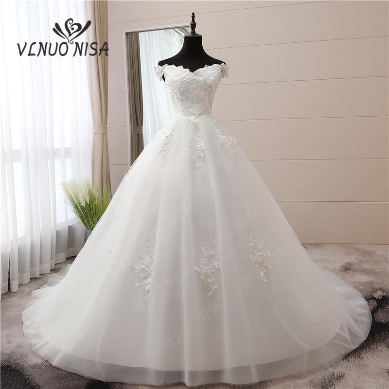 White Vintage Luxury 120cm Train Wedding Dress New Arrival Off Shoulder Boat Neck Vestidos De Noivas Plus Size Bridal Gowns 30