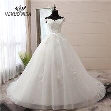 לבן בציר יוקרה חתונה שמלת 120 cm ארוך רכבת הגעה חדשה מכתף סירת צוואר Vestidos דה Noiva בתוספת גודל כלה שמלות