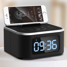 Bedside Mini LED Alarm Clock Bluetooth Speaker Stereo Music USB Port Charging AUX Slots For phone/ tablet  Player FM Radio