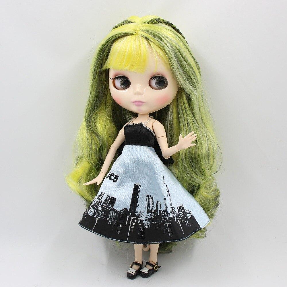 factory blyth doll white skin joint body green mix yellow hair BL9016/3208/3208/340 1/6 30cm bjd factory blyth doll green mix black hair with braids bl4302 9016 white skin joint body 1 6 30cm