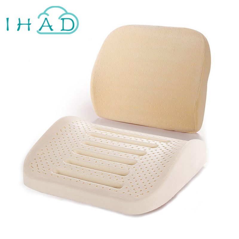 ФОТО Natural latex massage pillow Belt Office backrest lumbar pad Car waist cushion Designed for your waist