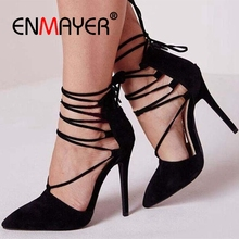 ENMAYER  Thin Heels High Heel Shoes Womens Zapatos Mujer Tacon Pumps Woman Size 34-43 ZYL2515