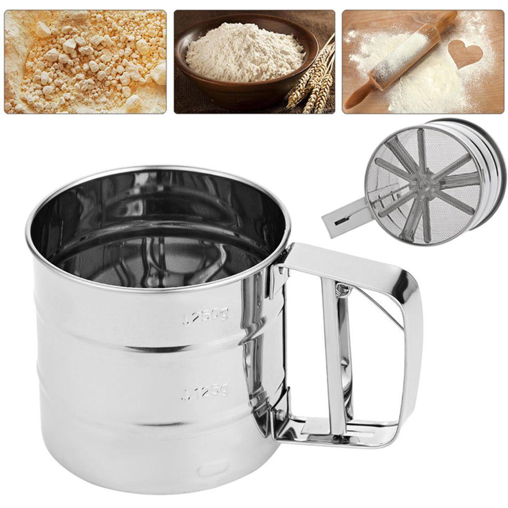 Flour Sifter Mug Shaped sieve Large capacity Scale Show Dense Mesh Single-deck Coffee Sugar Powder Dusting Filtering Sieve