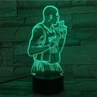 NBA Basketball star kobe 3D led night Light colorful table Lamp