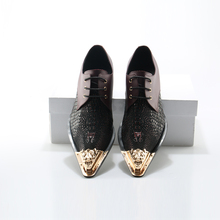 Genuine Leather Patchwork Men Dress Shoes Metal Toe