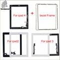 Para a apple ipad 2 ipad 3 painel de digitador de vidro + botão home + 3 m fita + quadro conjunto completo para ipad 4 touch screen preto branco