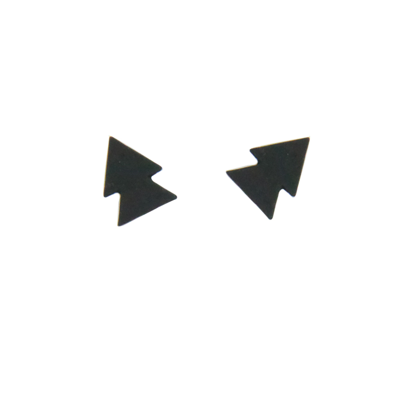 Everfast 1 Paar Zwart Triangels Earring Geometrische Berg Bos Oorbellen Punk Studs Sieraden Accessoires Vrouwen Kids