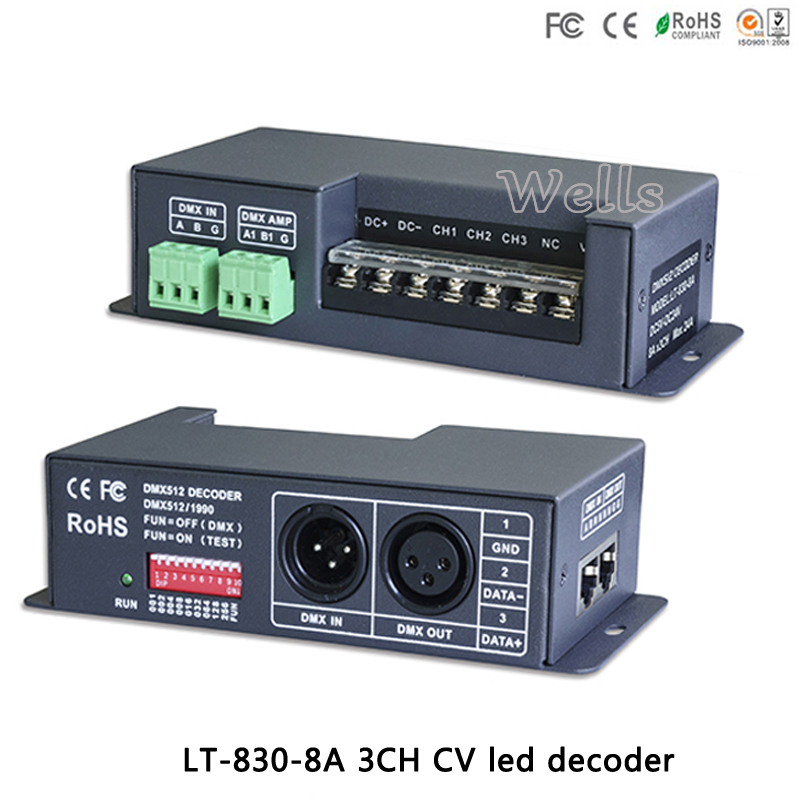 LT-830-8A DC5V-24V DMX-PWM CV RGB Controller Dimmer Drive 3CH 8A RDM DMX512 signal LED Decoder For LED Strip light lamps dmx301 low voltage dc12 24v led dmx controller with lcd digital display 8a channel 3 channels for rgb led strip light bulb lamps