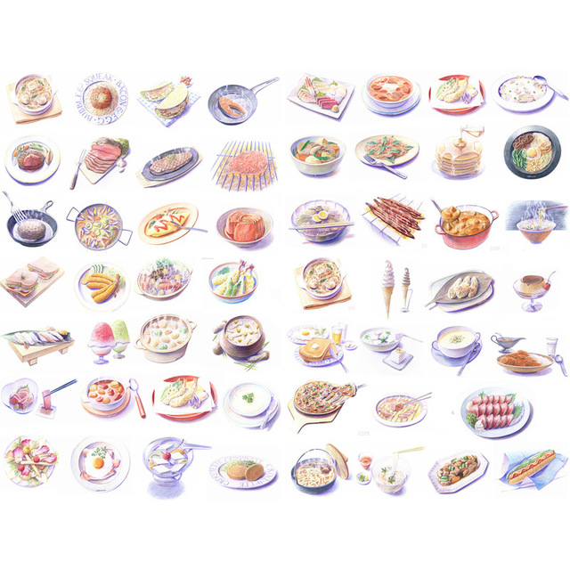 1 PCS Delicious Dinner Food Handmade Mini Calendar Album Aganda Stickers House of Novelty Cute Mohamm Scapbook Sticker