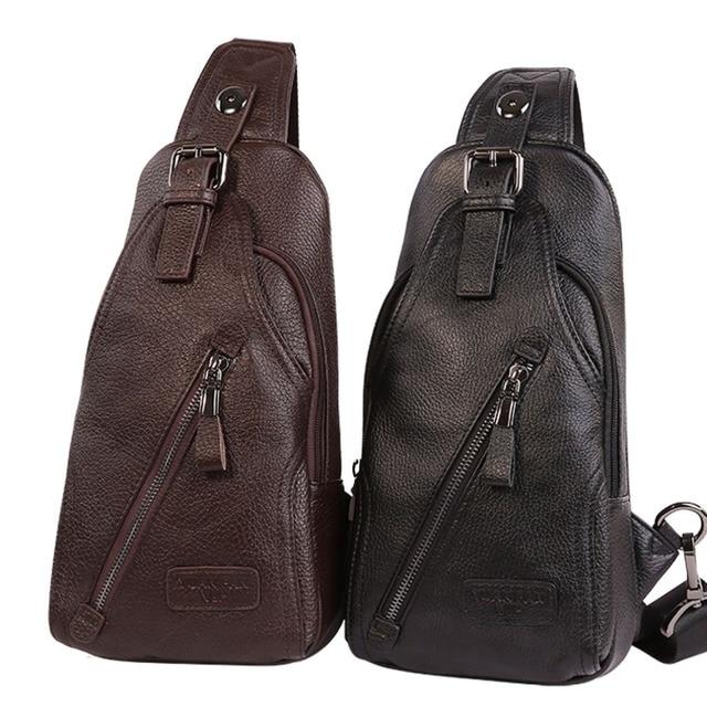 Men Genuine Leather Cowhide fashion Travel Chest Pack Sling Back Pack Riding Cross Body Messenger Single Shoulder Bag