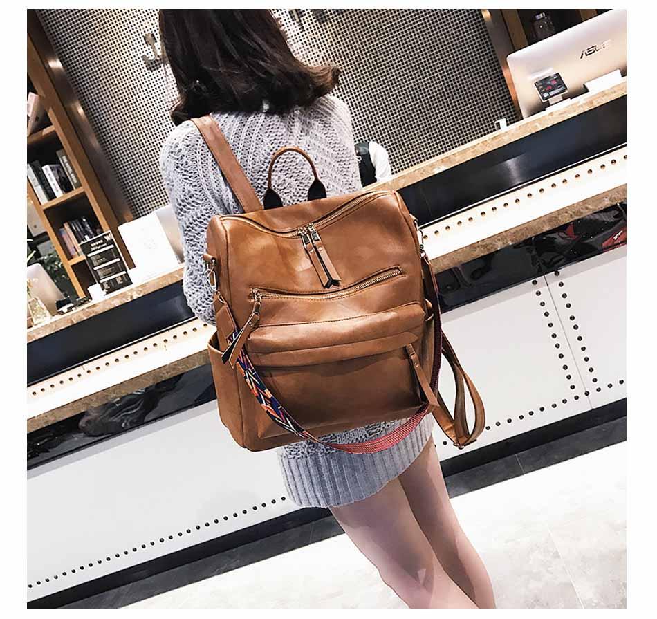 Leather Backpack Women 2019 Students School Bag Large Backpacks Multifunction Travel Bags Mochila Pink Vintage Back Pack XA529H