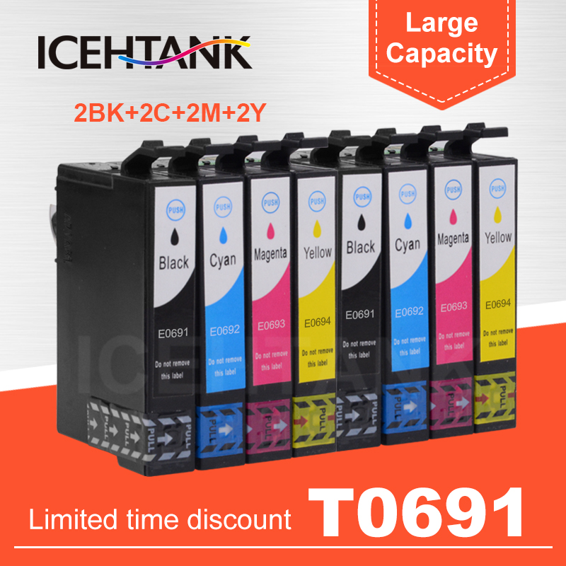 T0691 T069 Compatible Ink Cartridge For Epson WorkForce 310 315 <font><b>500</b></font> 600 610 610 1100 <font><b>30</b></font> 40 Printer Cartridges Full Ink With Chip image