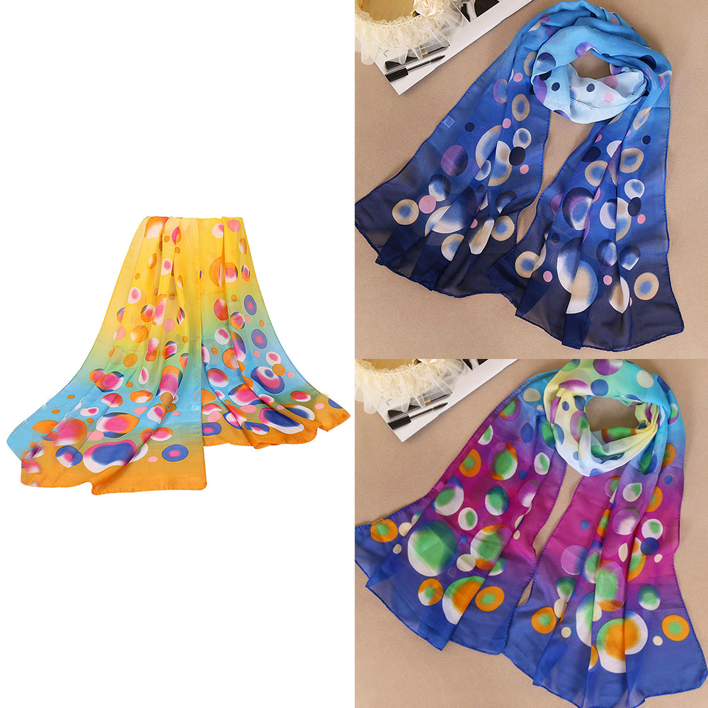 1* Colorful Circle Point Chiffon   Scarf   Women Long   Scarf     Wrap   Lady Large Shawl Silk   Scarves   Stole Summer Travel Accessories