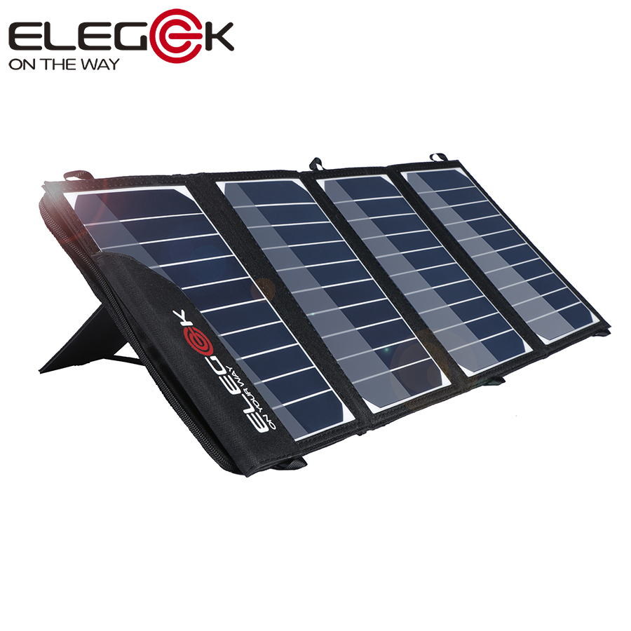 ФОТО ELEGEEK Portable 22W 5V Dual USB Solar Charger Foldable SUNPOWER Solar Panel Charger with Tuck Net and Stand for Smart Phone