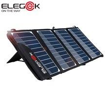 ELEGEEK Portátil 22 W 5 V Dupla USB Carregador Solar Dobrável SUNPOWER Carregador de Painel Solar com Tuck Net e Suporte para Smart telefone