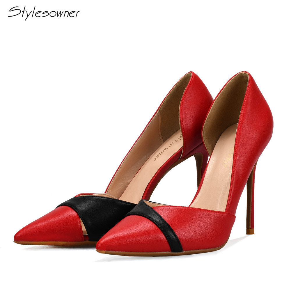 Stylesowner New Fashion Star Pointed Toe High Heels Shoes Sexy Women's Pumps Thin Heels 10cm Shoes Big Size 42/43/44/45/46 big size 40 41 42 women pumps 11 cm thin heels fashion beautiful pointy toe spell color sexy shoes discount sale free shipping