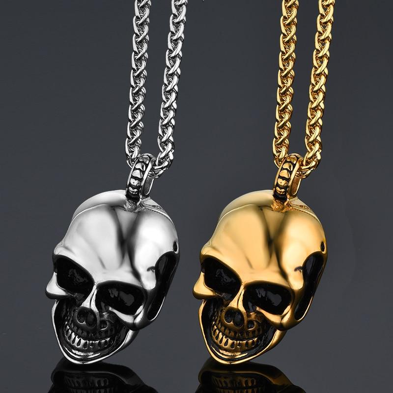Punk Hand Skeleton Skull Titanium Pendant Necklace Men Stainless Steel Chain