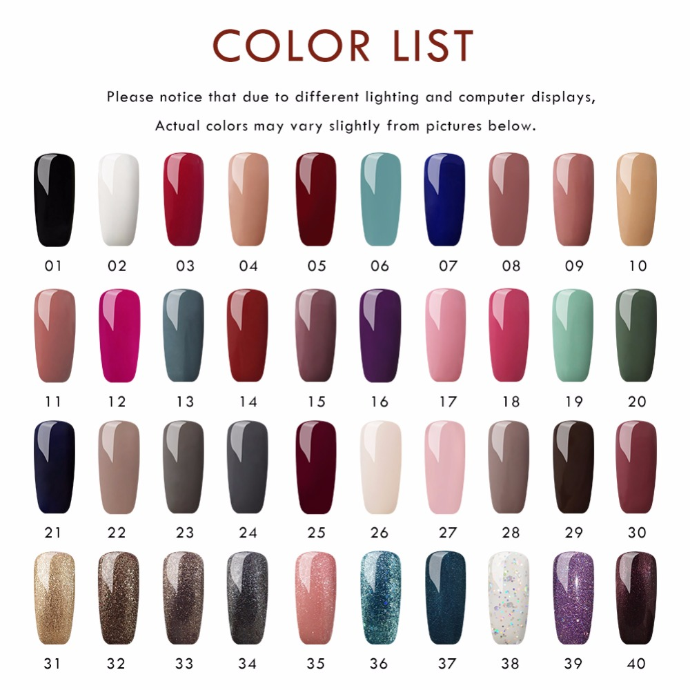 40pcs UV Gel Nail Polish For Nail Soak Off UV Gel Polish Nail Varnishes Manicure Pedicure Polish Set Cured UV LED Lamp