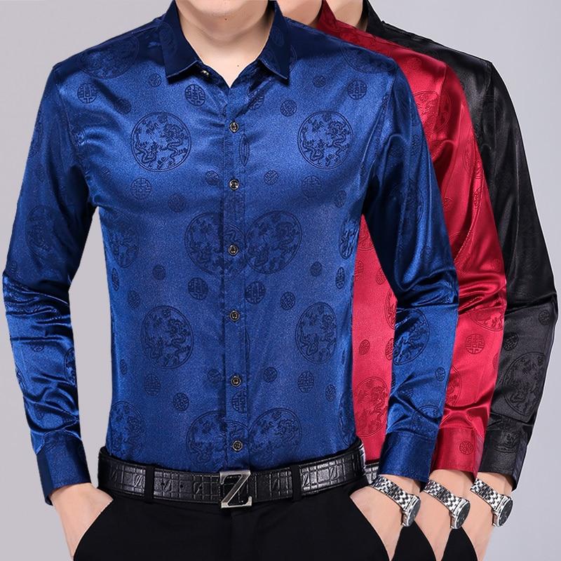 New Arrival Mens Long Sleeve Silk Dress Shirt Autumn