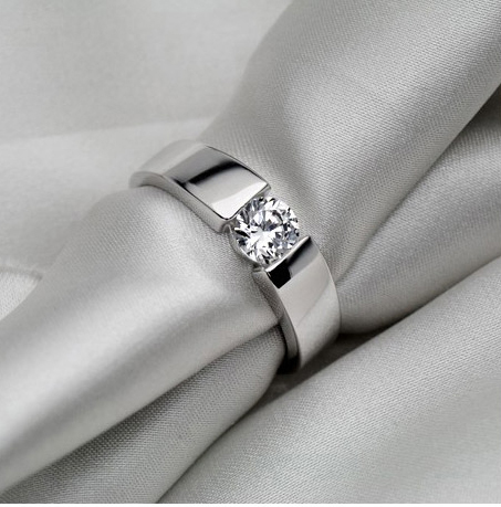 Men Jewelry Wedding Ring 0 5Ct Brilliant Synthetic Diamonds Men Engagement Ring Solid Silver Filled With