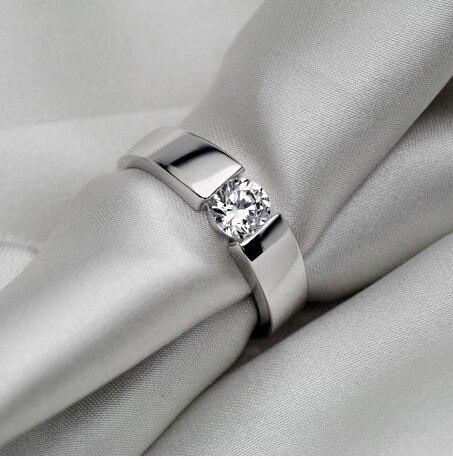 Mężczyzn biżuteria ślub pierścień 0.5Ct genialny syntetyczne diamenty mężczyźni pierścionek zaręczynowy pierścionek z litego srebra wypełnione z białego złota w Pierścionki zaręczynowe od Biżuteria i akcesoria na  Grupa 1