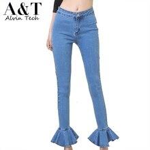 Female Fashion Korean Style 2017 Spring Autumn Designer Ruffles Hem Patched Ankle-Length Denim Flare Pants Women's Slim Jeans