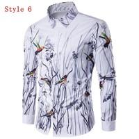 Autumn Spring New Fashion 3D Splash Ink Printed Long Sleeve Shirts Men Camisa Male Slim Fit