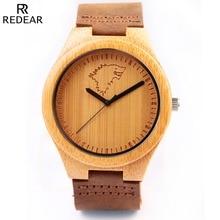 De Madera De bambú Amantes de Madera de Lujo de Relojes de Pulsera Con Banda de Cuero Genuino del Zurriago Para Los Hombres