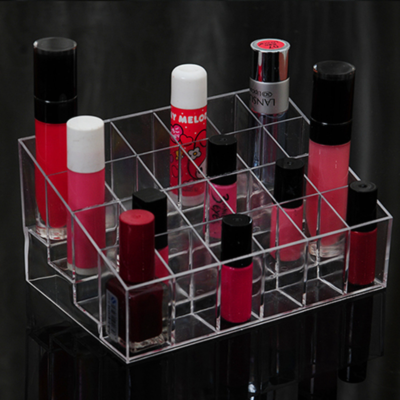 24 Grid Transparent Lipstick Acrylic Organizer Cosmetic Organiser Plastic Storage Box Makeup Make Up Storage Case makeup holder ...