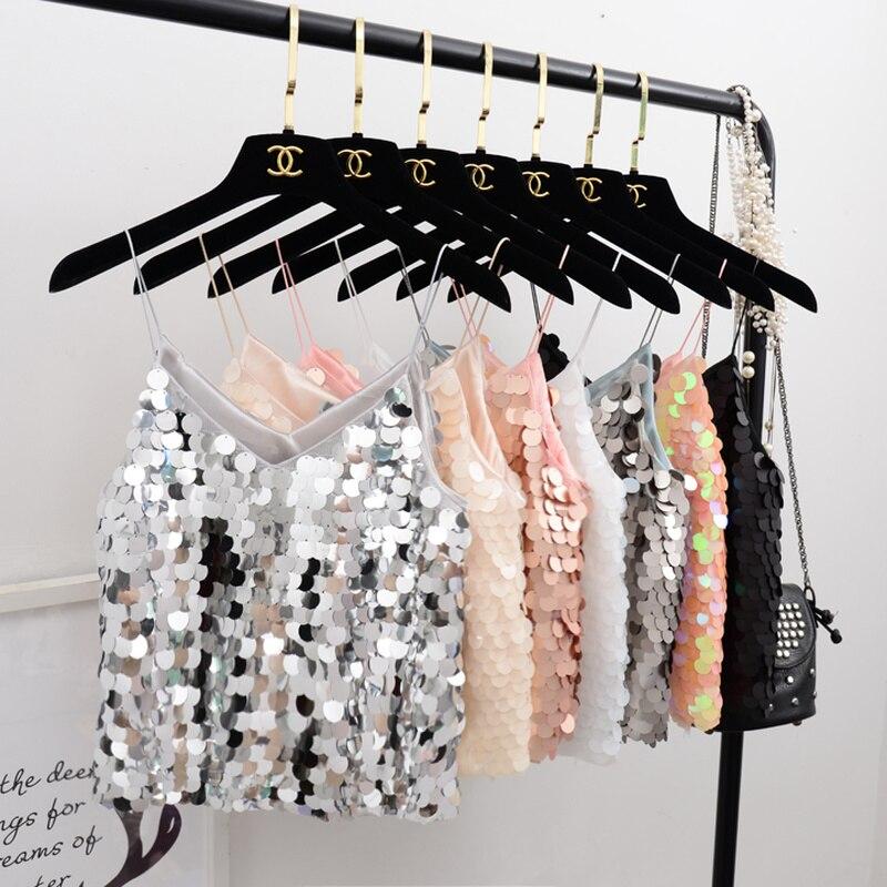 2019 Nova Moda Outono Verão Tanques Camis Sequined Curto Mulheres de Slim Com Decote Em V lantejoula Sexy streetwear fina straps halter top Mw575