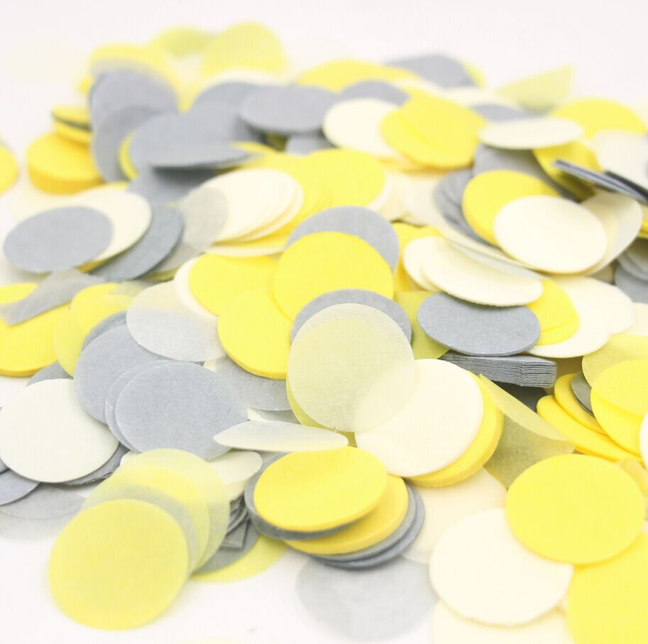 1 Inch 5000pcs Grey And Yellow Party Confetti Wedding Decoration