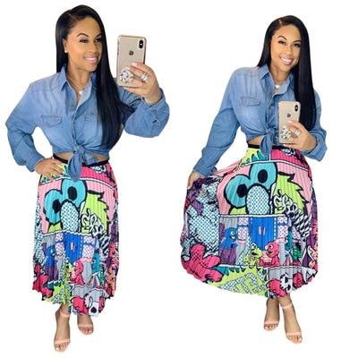 2019 new women printing vintage cartoon sexy high waist mid-calf length pleated skirts active wear casual skirt 3 color