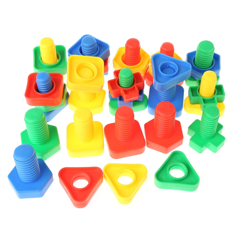Insert Blocks Screw Building Blocks Nut Toys Children Educational Montessori Toy-M15 81pcs set assemblled gear block montessori educational toy plastic building blocks toy for children fun block board game toy