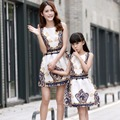 2016 Mother Daughter Dresses Family Matching Clothing Girls Dress Sleeveless Formal Print A-line Dress For Summer Kid