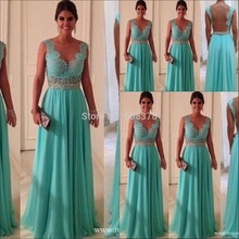 Exquisite Mint Green Sheer Back Free shipping See Through Lace Long Formal Evening Dresses Gown Floor Length 2014 Top Fashion