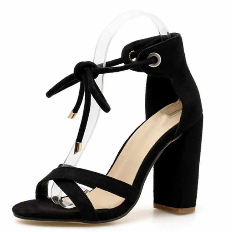 Kadın Sandalet Yaz Dantel-Up Moda Yüksek Topuklu Peep Toe Ayakkabı Kadın Kare Topuk Bayanlar Sandalet Yeşil, siyah Boyutu 35-40