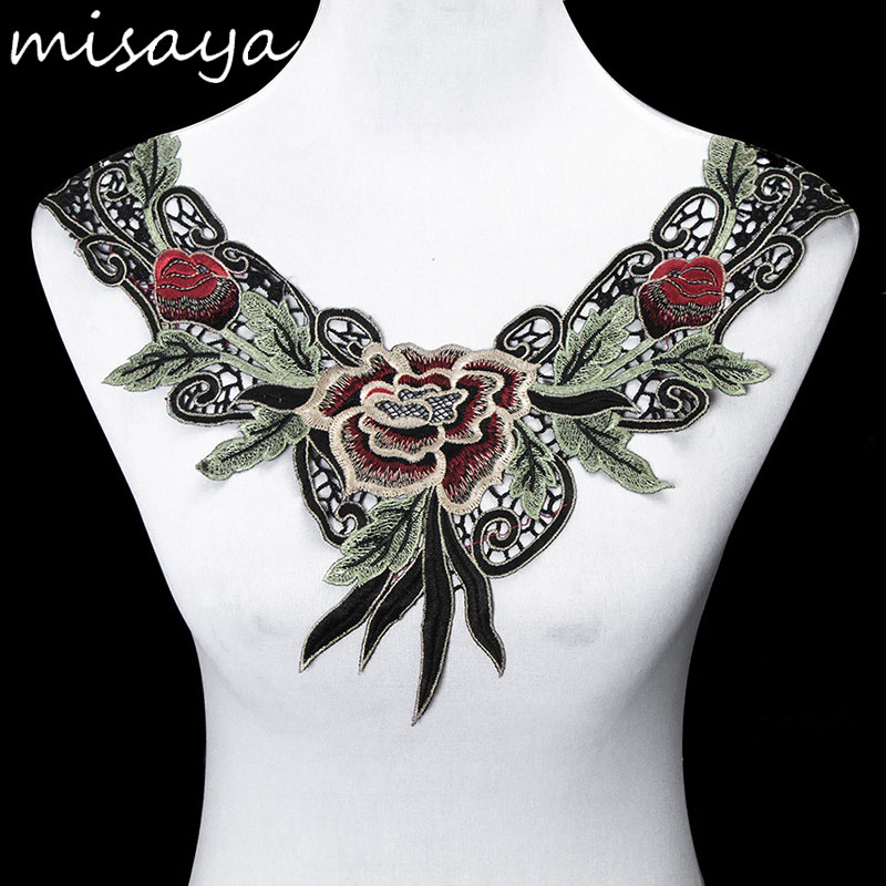 Misaya 1pc Embroidery Net Cloth Lace Collar Flower Polyester Fabric,DIY Handmade Collar Lace Fabrics For Sewing Collar Crafts