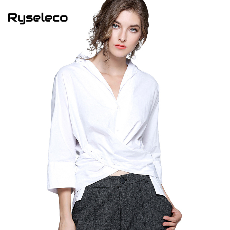 Ryseleco 2018 Spring High Quality OL V-Neck Loose Shirt Solid Elegant Cotton Blends Bow Tied Criss Cross Knot White Blouse Blusa
