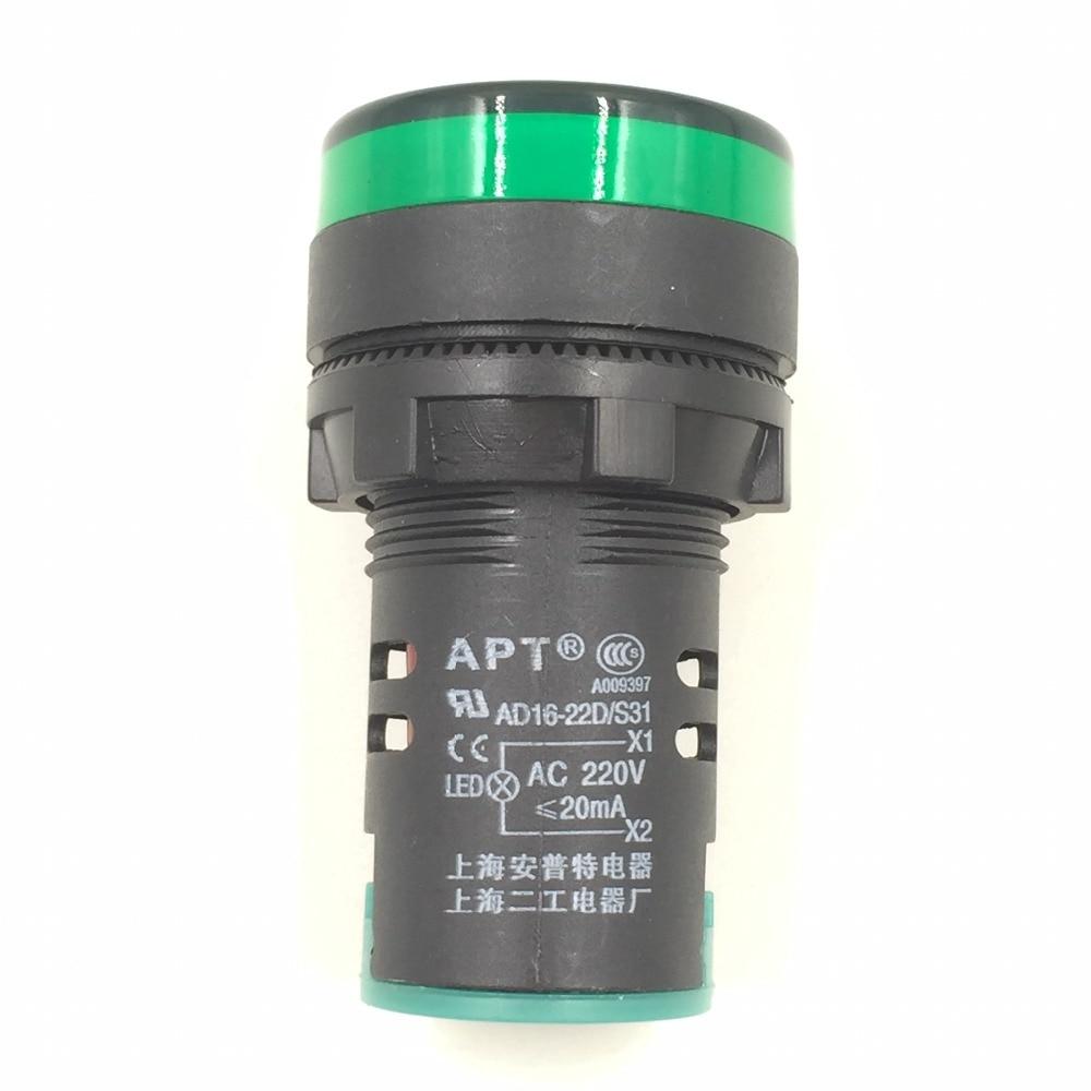 2 Pcs AC 220V Electrical Circuit Green LED Indicator Pilot Light
