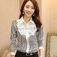2016 Yeni Dantel kadın aşınma çalışmak için Çizgili Şifon bluz vintage uzun kollu elegant lady ofis gömlek beyaz tops siyah S ~ XXL