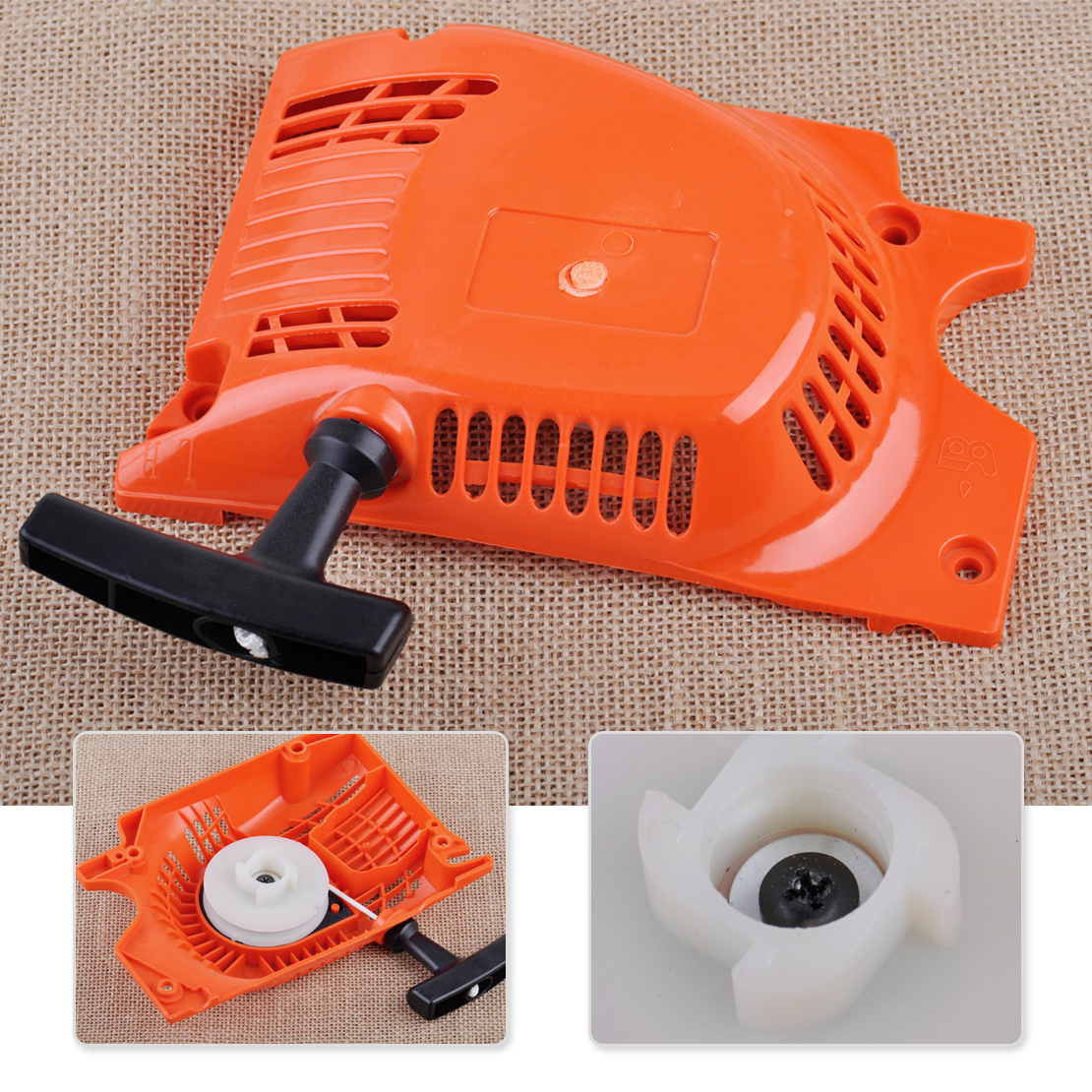 LETAOSK New Generator Recoil Pull Starter Chainsaw Spares fit For Chinese Chainsaw 4500 5200 5800 45cc 52cc 58cc chainsaw easy starter with two spring recoil starter pulley fits 45cc 52cc 58cc chainsaw replacement parts