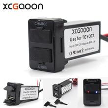 Xcgaoon Специальный 5 В 2.1A автомобиль USB Интерфейс разъем Зарядное устройство адаптер и usb аудио разъем Применение для Toyota Corolla Auris Avensis RAV4