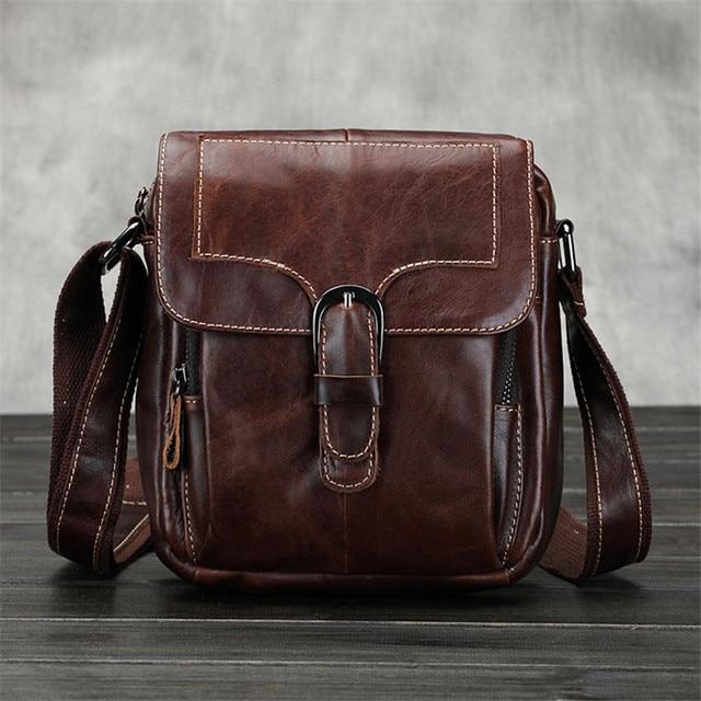 Fashion Genuine Leather Shoulder Bag Men Crossbody Bag men Leather  Messenger Bag Small Casual Sling Bag Brown